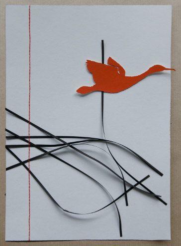 Vogel vlucht  A4 van Whitepaperbird op Etsy