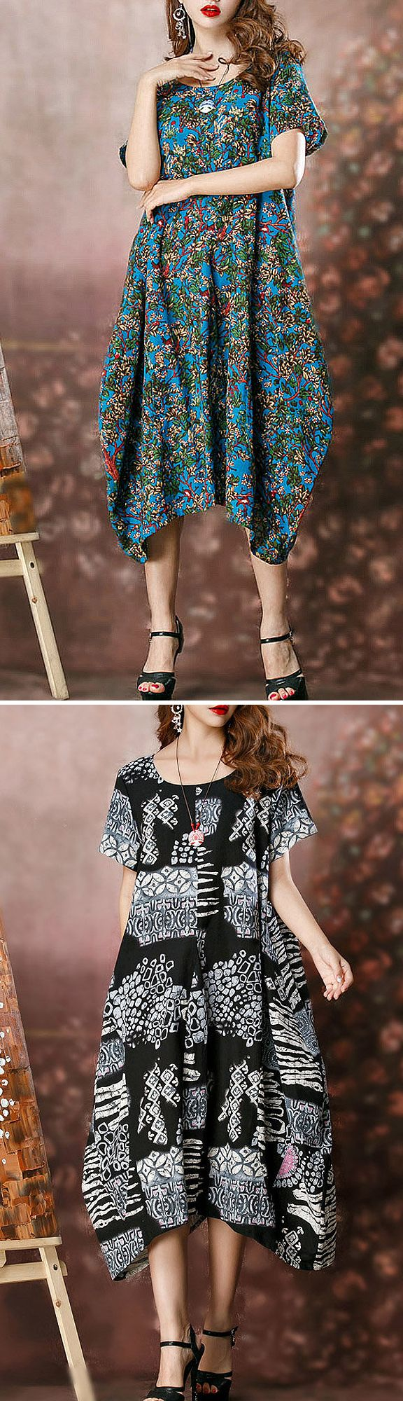 US$ 22.98 O-NEWE Vintage Printed Irregular Hem Short Sleeves O Neck Dress