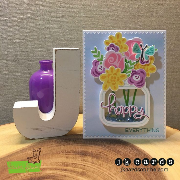 Happy Fab Jar. Lawn Fawn Fab Flowers, How You Bean? and Happy, Happy, Happy Photopolymer and Coordinating Lawn Cuts, Lawn Fawn Zig Zag Rectangle Stackables, Lawn Fawn Watercolor Wishes Petite Paper Pad, Pretty Pink Posh Share Kindness Sequins Mix.