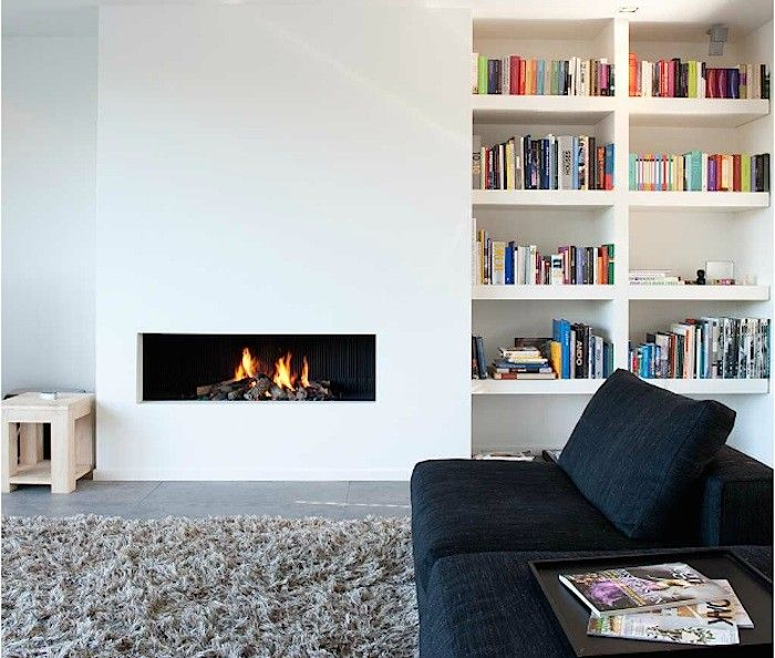 Article about gas vs. Wood.  I love how sleek this looks though.  Oomen Architecture Gas Fireplace, Remodelista