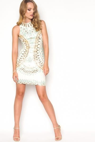 Mint and Gold Sequin Bodycon Dress...girls night out dress!