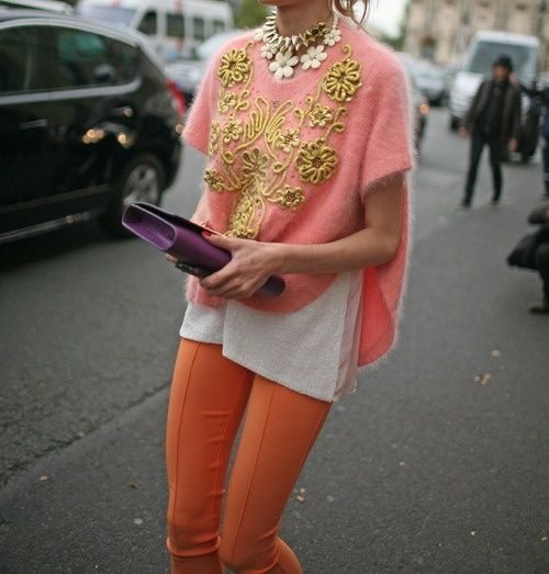 Color on color, details on details! Love the coral top with the orange pants. And the detailing on the sweater!! Gorgeous. So funky and fun