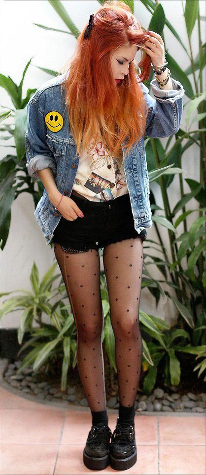 Denim jacket with blouse, polka dots stocking, black shorts & Black creepers shoes