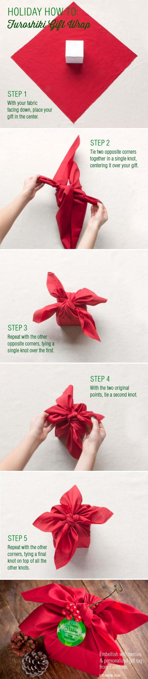 DIY Gift Wrapping Ideas - How To Wrap A Present - Tutorials, Cool Ideas and Instructions   Cute Gift Wrap Ideas for Christmas, Birthdays and Holidays   Tips for Bows and Creative Wrapping Papers    Furoshiki Gift Wrap     http://diyjoy.com/how-to-wrap-a-gift-wrapping-ideas