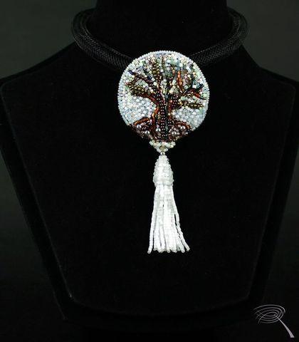 Броши ручной работы. Ярмарка Мастеров - ручная работа. Купить Древо жизни - брошь  с кистью. Handmade. Белый, дерево жизни