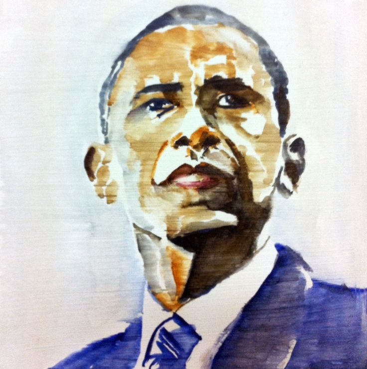 Barack Obama watercolor on canvas 30x30