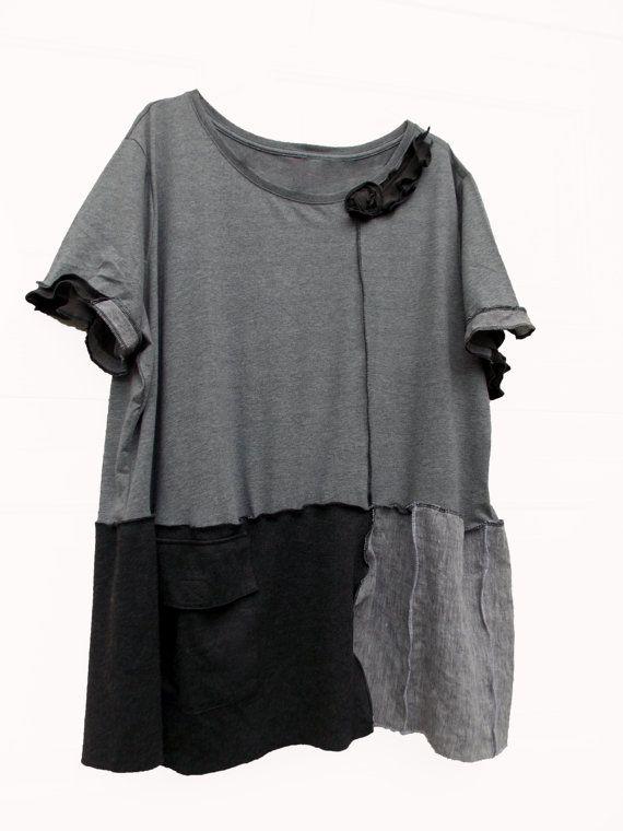 Charcoal Gray Ruffled Tunic Shirt 5x Eco by RebeccasArtCloset