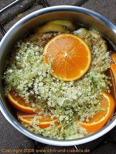 Orangen Holunder Blüten sirup