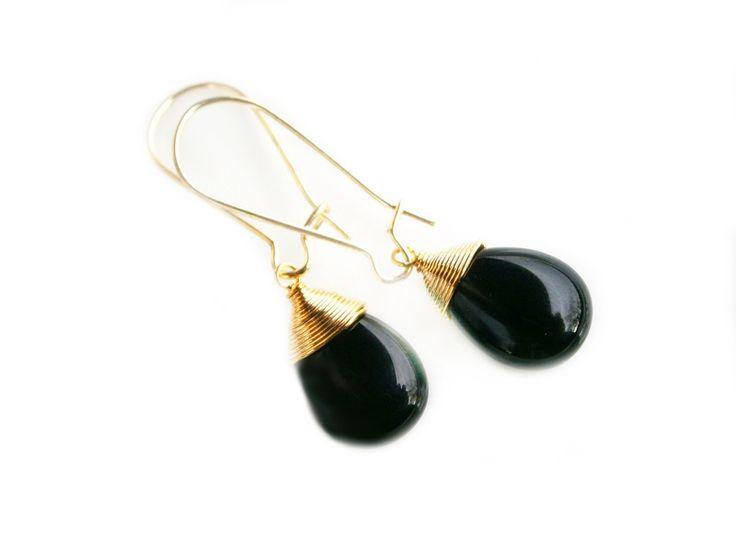 Ohrringe Onyx vergoldet von DeineSchmuckFreundin - Schmuck und Accessoires auf DaWanda.com