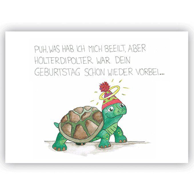 Postkarte Schildkrote Quot Puh Was Hab Ich Mich Beeilt Quot