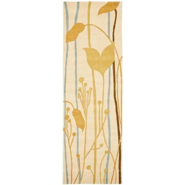 Safavieh Handmade New Zealand Wool Gardens Beige Rug (2'6 x 8') (SOH746A-28), Size 2' x 8'