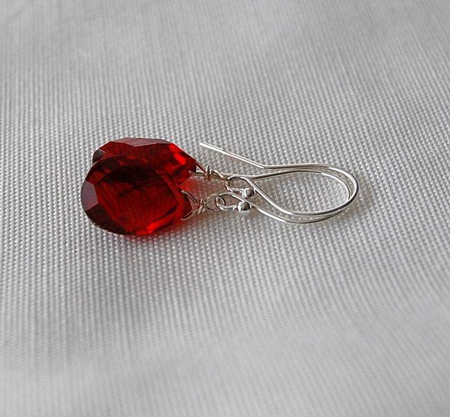 Silber Ohrringe -  Ohrhänger mit  rotem Quarz 925 Silber pur - ein Designerstück von Mirakel1807 bei DaWanda