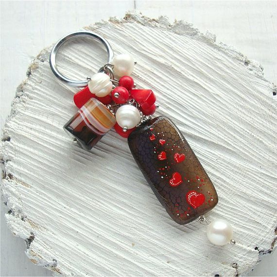 Keychain with stones agate hearts hand-painted lacquer