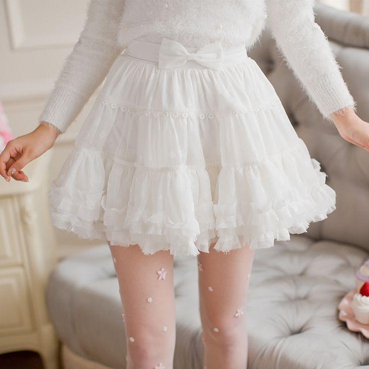 Японская мода сладкий белый бантом юбка милые девушки мода шифон юбка юбки кружевные юбки купить на AliExpress