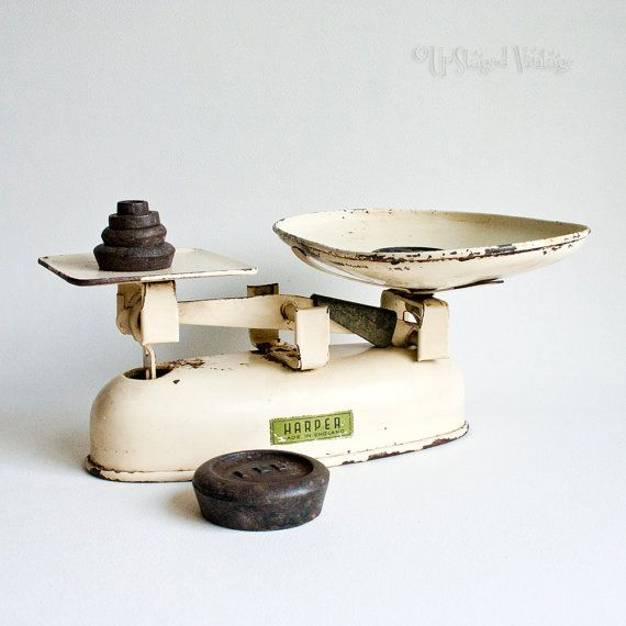 Vintage rustic cream enamel harper kitchen by for Rustic kitchen scale