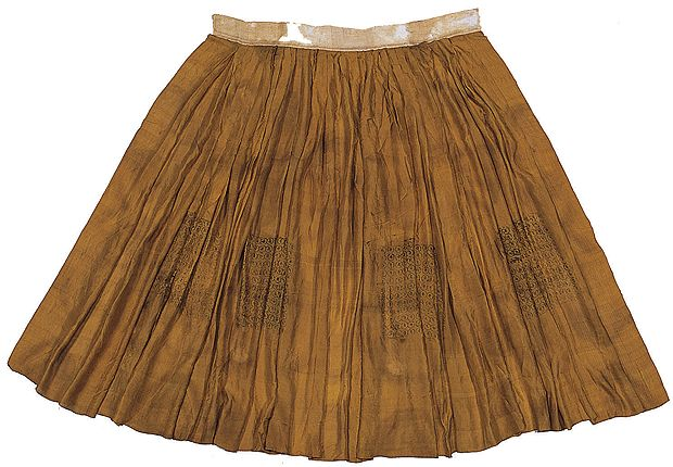 """Chima/skirt """"excavated from the tomb of Yang(family originated in Namwon),  the wife of Jeong (family originated in Gyeongju, 1481-1538) in paju, Gyeonggi-do""""  Length 133㎝, Waist 93㎝, Width 526㎝. The single layered chima, made of fine tabby silk is stamped with Buddhist scriptures in the knee area, this suggests that the chima was intended for placement in a coffin during burial. At the Dankook Seok Juseon Memorial Museum."""