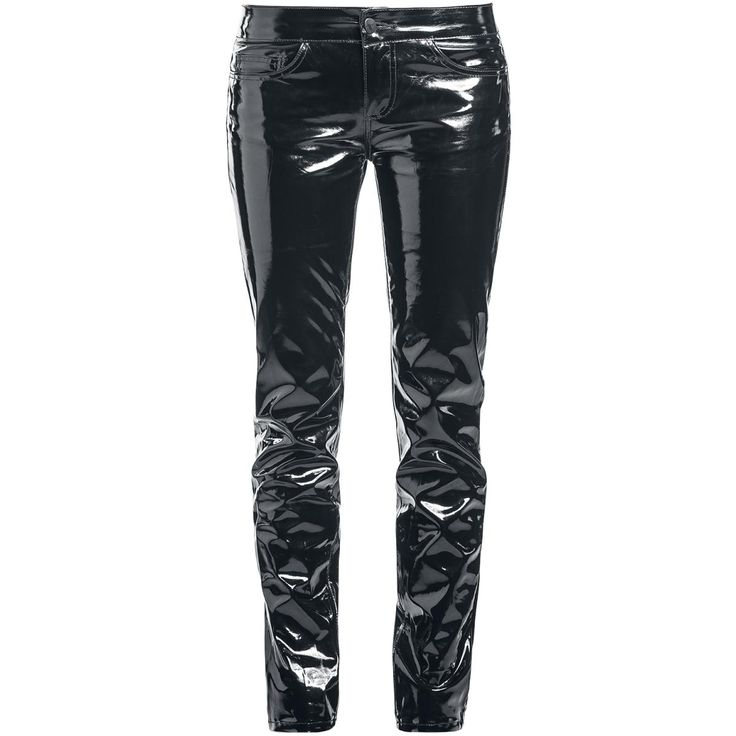 Trousers from Gothicana by EMP: - Vinyl trousers - Skinny fit - Covered zip - 5-pocket style The Varnish Megan vinyl trousers from Gothicana by EMP are designed for ladies who feel most alive in the dead of the night. These vinyl trousers are stunningly shiny, and thanks to the skinny fit they're also nice and snug. The trousers feature a total of five pockets; three in the front and two at the back. A hidden zip completes the design.