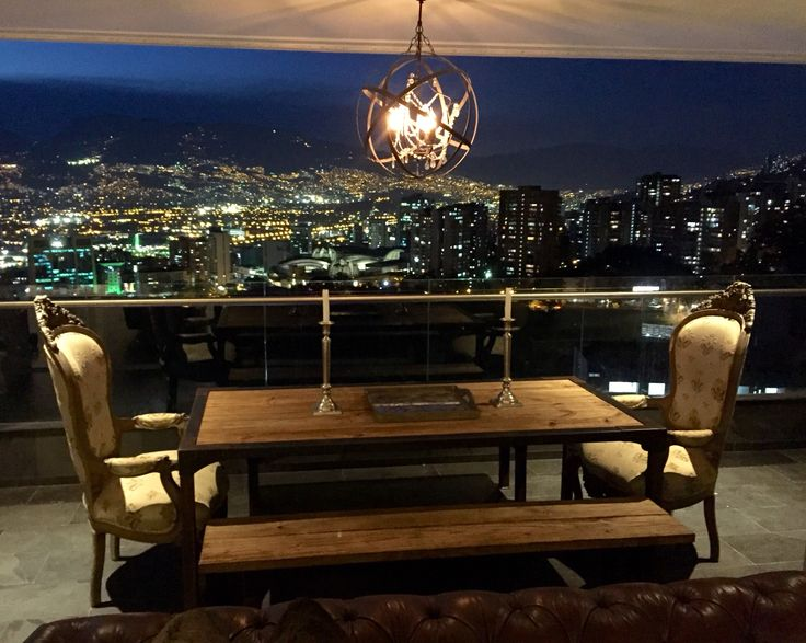 Dinner table with Medellin city view