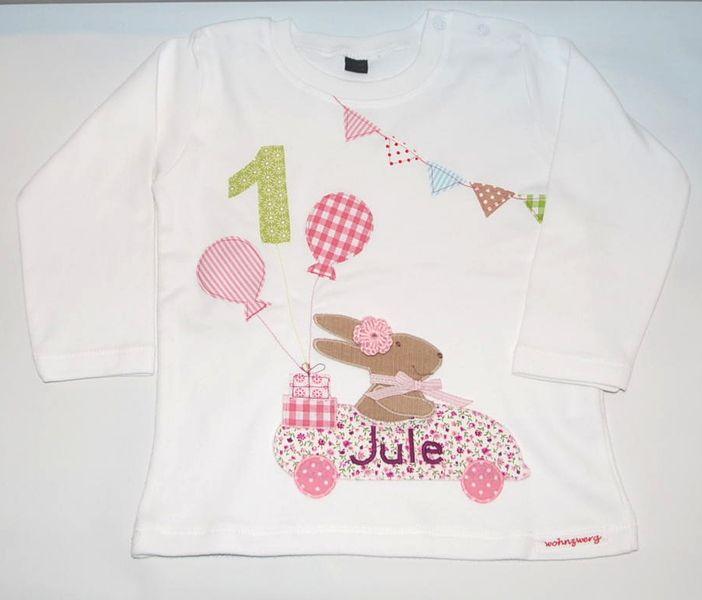 Langarmshirts - Geburtstagsshirt -Rosa Hasenrennen - ein Designerstück von wohnzwerg bei DaWanda