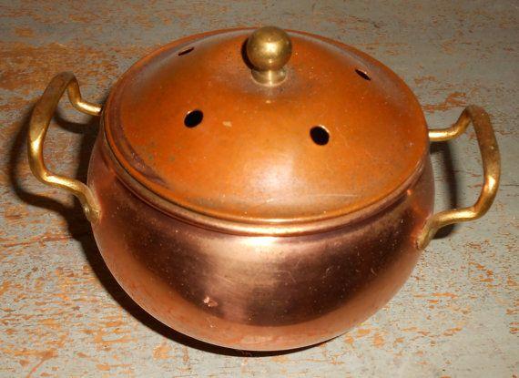 Vintage Copper Pot Potpourri Holder Copper Container
