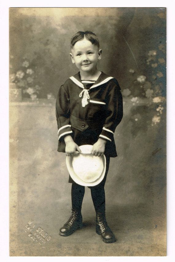 Little Sailor Boy in Uniform Original and Vintage Real by bookedge, $14.00