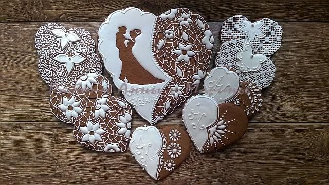 """Wedding gingerbread set """"White and Brown"""" 