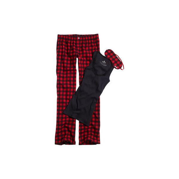 Womens aerie slumber set - Red Bow ($20) ❤ liked on Polyvore featuring intimates, sleepwear, pajamas, pijamas, clothing & accessories  clothing  underwear & socks, flannel pajamas, sexy pjs, flannel pj pants, polka dot pajamas and red flannel pajamas