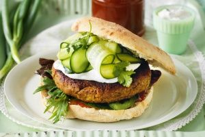 Korma curry lentil burgers with mango chutney,    Using gluten/dairy free bread would be my chose.