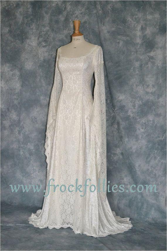 Vestido de Novia de élfico Medieval mano ayuno por frockfollies