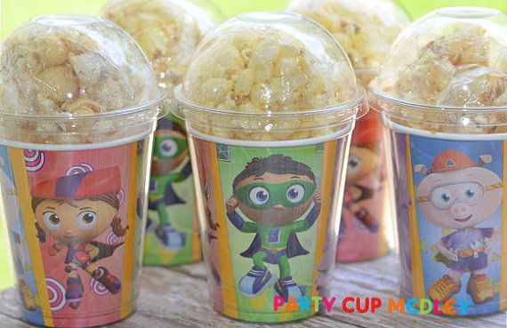 Super Why  Birthday Party CupsPopcorn BoxSet of by PartyCupMedley
