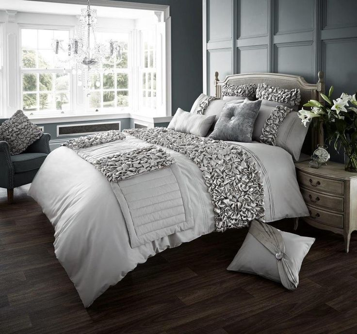 Verina Silver Luxurious Duvet Covers Quilt Covers Bedding Sets All Sizes