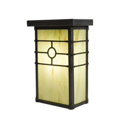Steel Partners Historic California 1 Light Outdoor Flush Mount Finish: Architectural Bronze, Shade Type: Slag Glass Pretended