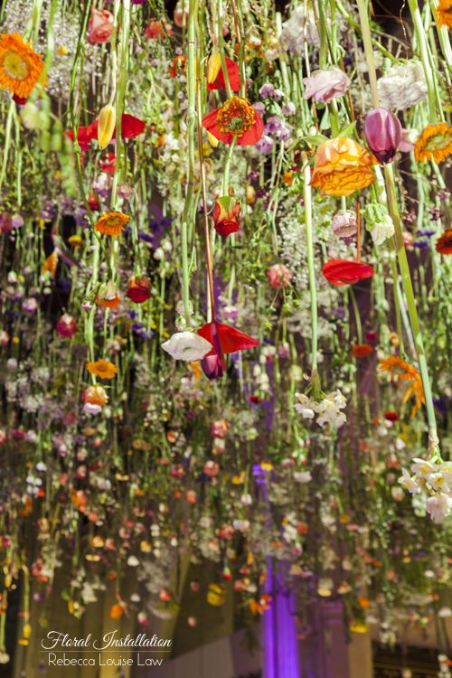 This is fabulous!  Amazing floristry, the time and effort taken to create this is wonderful!  Single stems flowers hung upside down, so simple.  Jen, Flowers by Suzanne