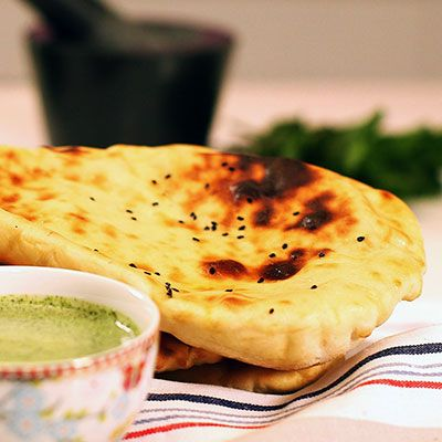 Anjum Anand's Quick and easy naan with creamy mint chutney