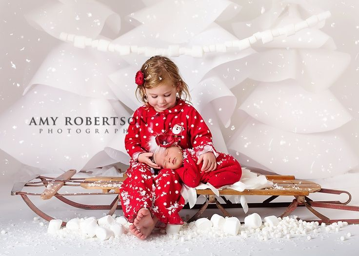 Sibling Christmas Photo Shoot Ideas Love the sled prop cute pj's sibling newborn pictures christmas