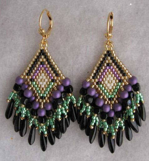 Made To Order - Seed Bead Earrings - Purple/Green/Black - Copyright 2012 Patti…