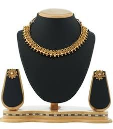 Buy Traditional GoldEN Pearl Necklace Antique Jewellery necklace-set online