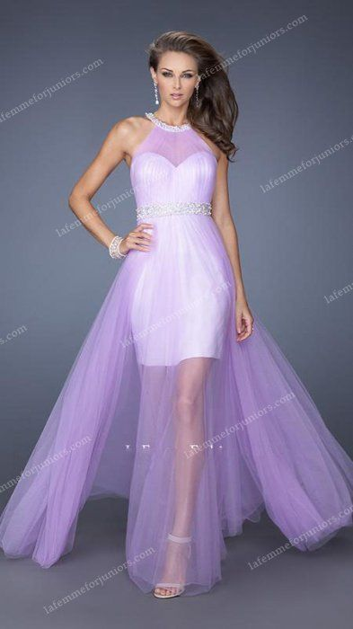 Beaded Tulle Divine Illusion Sheer Draped La Femme Homecoming Gown