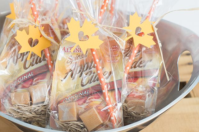 Cute leaf tags for apple cider Fall party favors