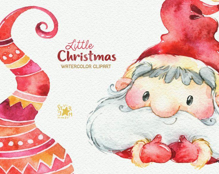 Little Christmas Watercolor Clipart Santa Claus Winter