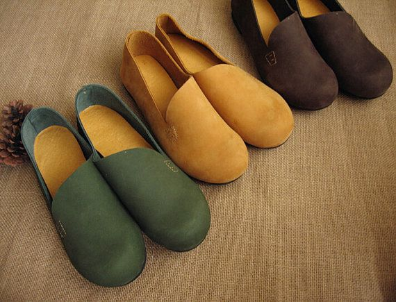 3 Colors Handmade Flat Shoes for Women Casual Shoes Soft by HerHis