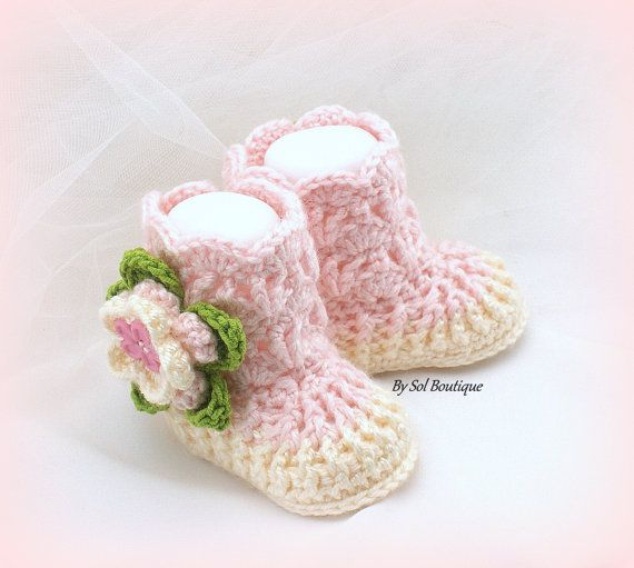 New Born Booties Cream Pink Baby Girl Shoes New by solboutique