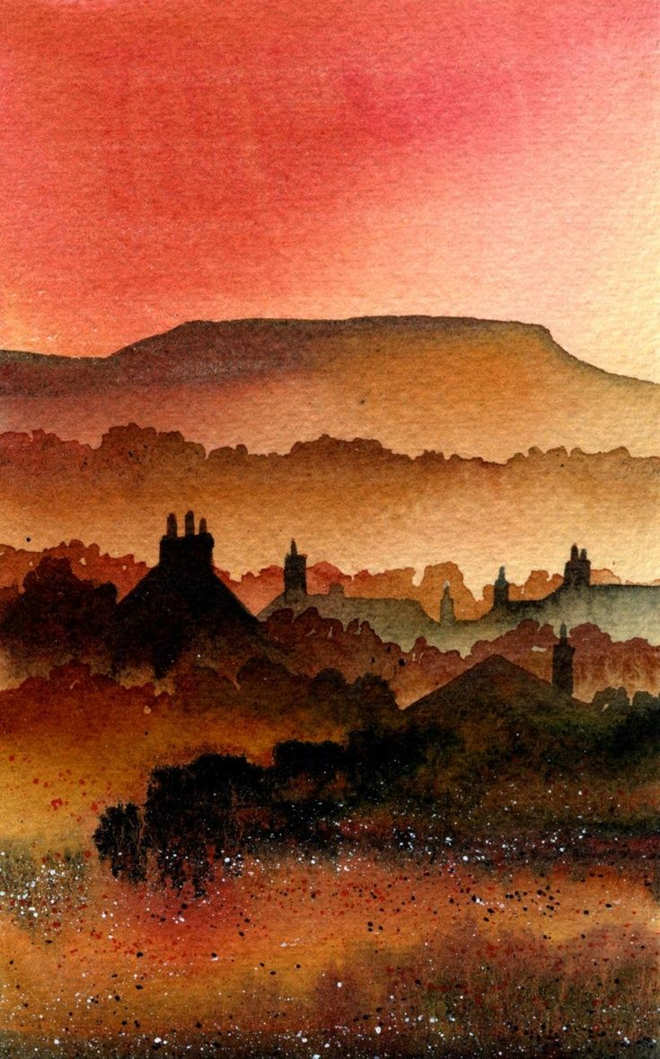 ARTFINDER: Askrigg, Yorkshire Dales by Ian Scott Massie - Looking over the roofs of Askrigg towards Addleborough in Wensleydale in autumn colours.