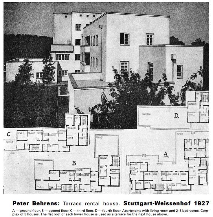 Peter behrens 39 houses at wei enhof in stuttgart 1927 for Behrens house