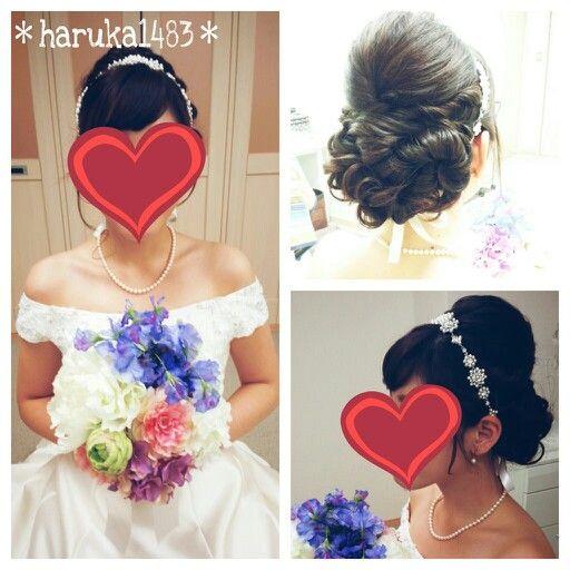 *my wedding hair*前撮り時のヘアスタイル♡ネットで購入したリボンカチューシャで♪#ウェディングヘア #ウェディング #ヘアスタイル #花嫁