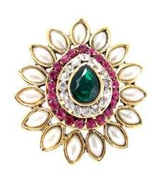 party wear stylish pink-green kundan pearl gold plated adjustable finger ring shop online