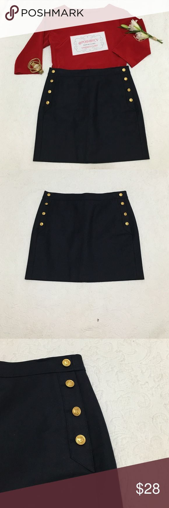 J. Crew Nautical Skirt ! Beautiful Navy Sailor Skirt ! Gold buttons with anchor details ! Front & back pockets ! J. Crew Skirts Midi
