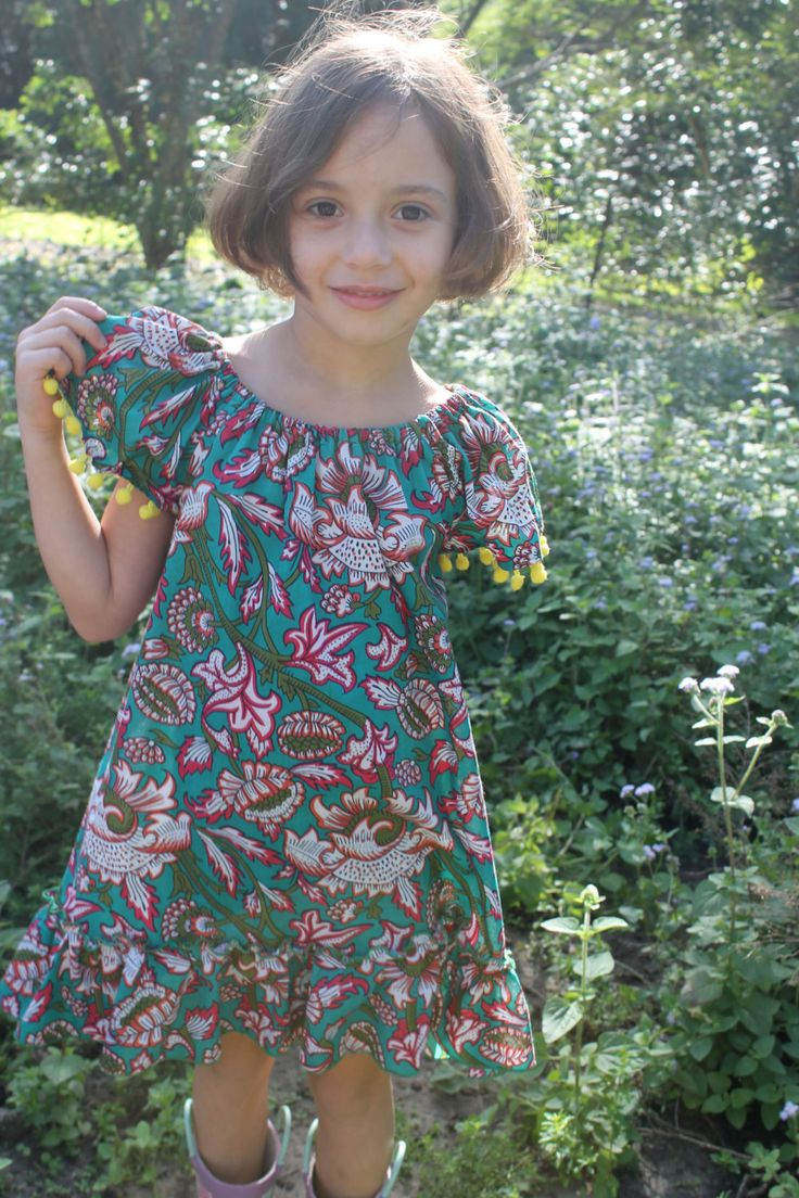 Girls Indian Block Print Summer Dress with Pom Pom Sleeve by HullabalooKids on Etsy