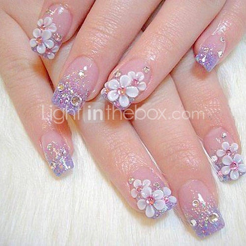Light purple with 3D flowers