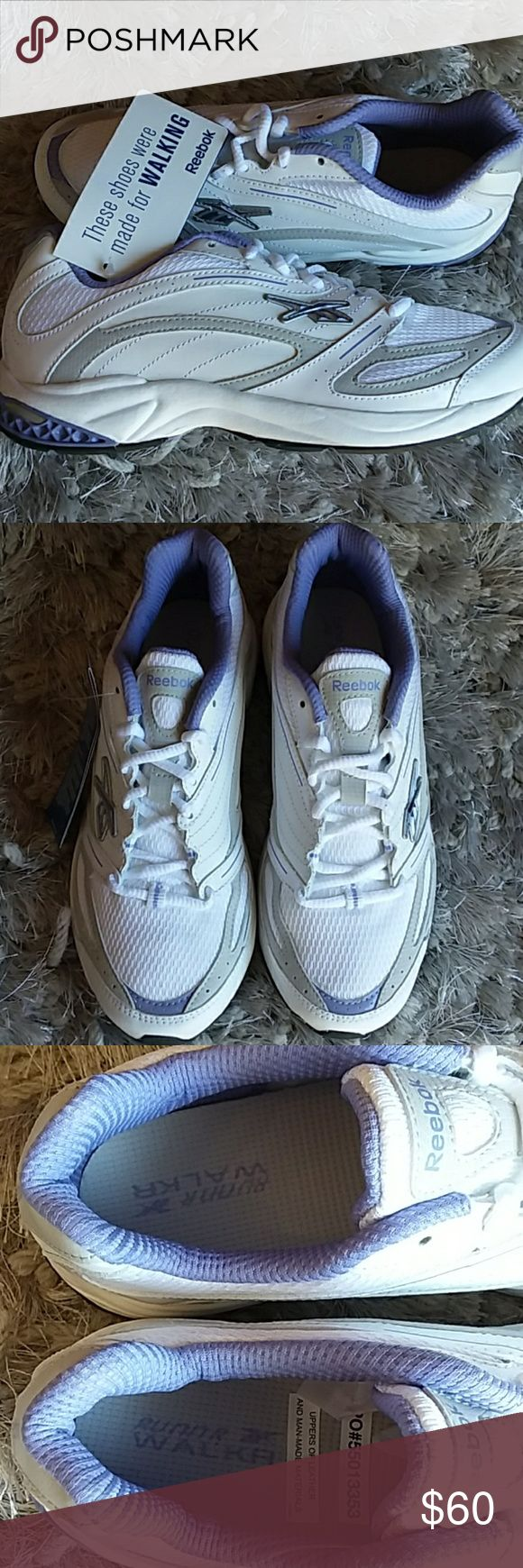 NEW Reebok leather walking shoes trainers purple Perfect pristine condition - never got to wear these.  Leather.  No box, but original interior and ad tags as pictured. Purchased for a job where I had to be standing for an entire shift. Then it was decided shoes had to be all white or black color, so I couldn't wear all my expensive shoes any longer! Please see all pics to detail condition. I'm pretty firm on my price for these shoes. Size 7.5 Reebok Shoes Athletic Shoes